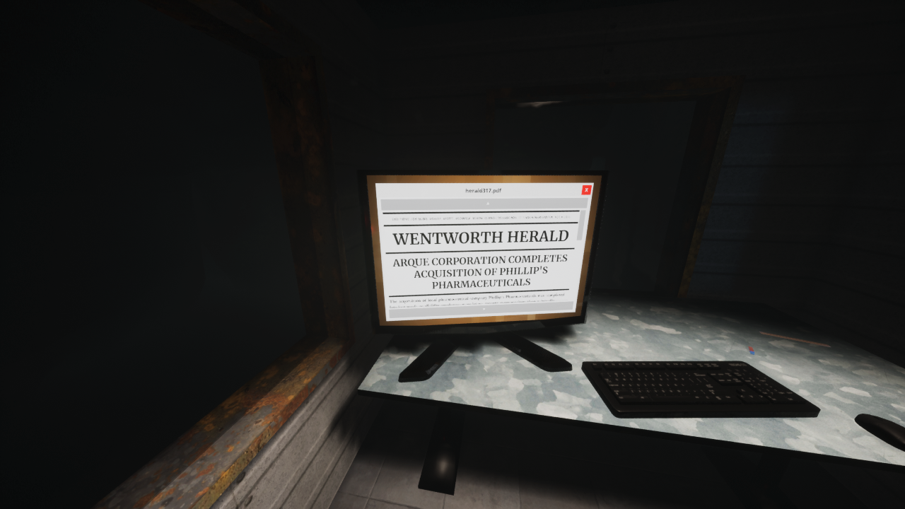 A screenshot of the game Estranged: The Departure, showing barely legible text on a computer screen